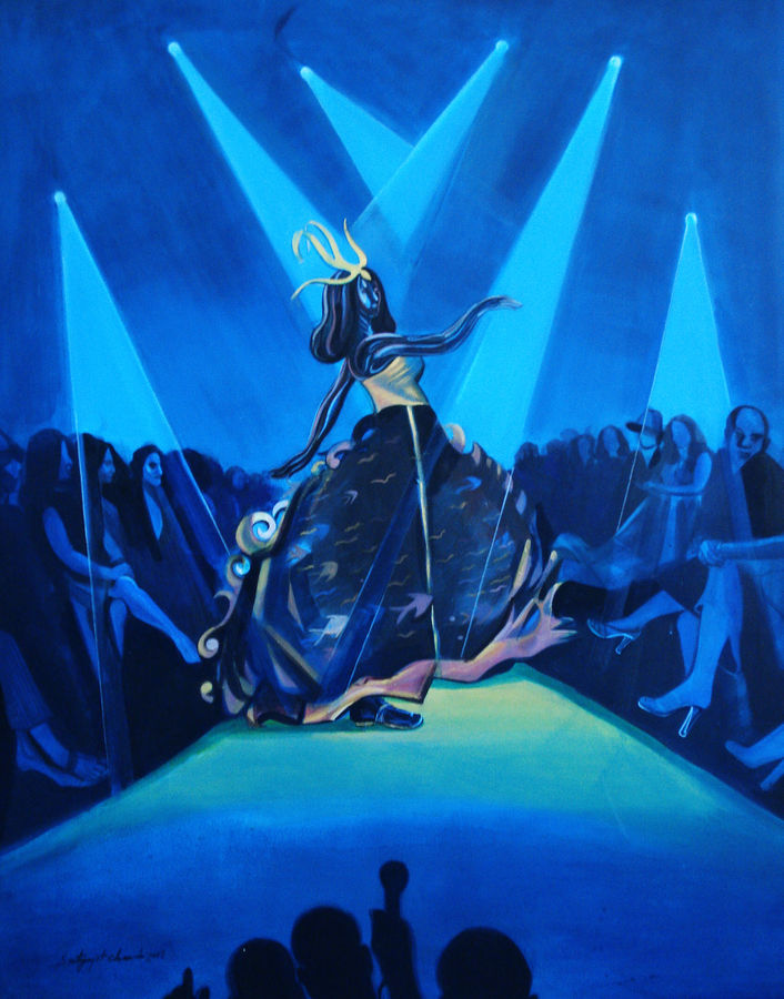 show stoper, 48 x 60 inch, satyajit chandra chanda,figurative paintings,conceptual paintings,paintings for office,canvas,acrylic color,48x60inch,GAL07502038