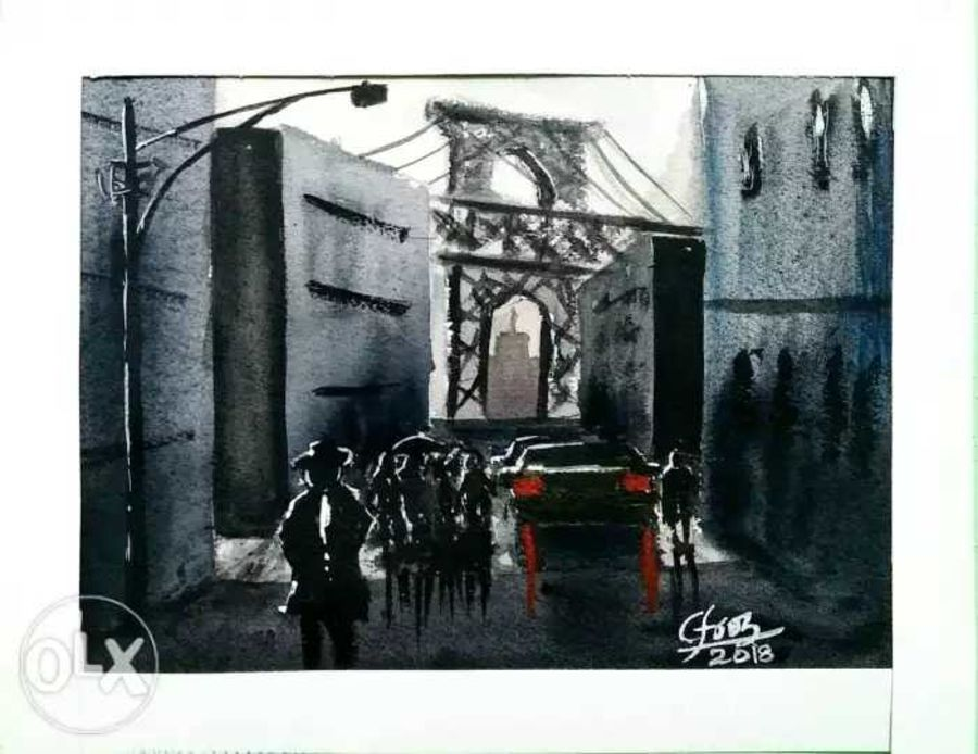 manhattan bridge , 12 x 10 inch, afroz nayyar,paintings,cityscape paintings,impressionist paintings,paintings for dining room,paintings for living room,paintings for bedroom,paintings for office,paintings for kids room,paintings for hotel,paintings for kitchen,paintings for school,paintings for hospital,arches paper,watercolor,12x10inch,GAL0943220381
