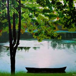 the illuminating lake, 16 x 22 inch, mayuri sinha,paintings,landscape paintings,nature paintings,realistic paintings,paintings for dining room,paintings for living room,paintings for bedroom,paintings for office,canvas,acrylic color,mixed media,16x22inch,GAL01037420412Nature,environment,Beauty,scenery,greenery