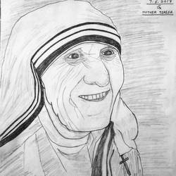 mother teresa, 11 x 13 inch, geeta kwatra,drawings,abstract drawings,drawing paper,pencil color,11x13inch,GAL0899120420