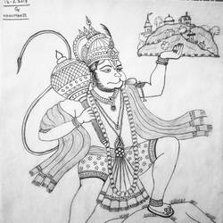 hanumanji, 11 x 13 inch, geeta kwatra,drawings,abstract drawings,drawing paper,pencil color,11x13inch,GAL0899120421