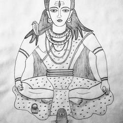 lord shiva, 11 x 13 inch, geeta kwatra,drawings,abstract drawings,drawing paper,pencil color,11x13inch,GAL0899120422