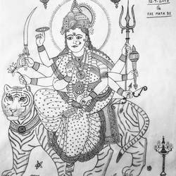 jai mata di, 11 x 13 inch, geeta kwatra,drawings,abstract drawings,drawing paper,pencil color,11x13inch,GAL0899120424