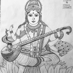 goddess saraswati, 11 x 13 inch, geeta kwatra,drawings,abstract drawings,drawing paper,pencil color,11x13inch,GAL0899120425