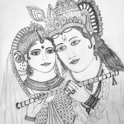 krishna radha, 9 x 10 inch, geeta kwatra,drawings,abstract drawings,drawing paper,pencil color,9x10inch,GAL0899120427