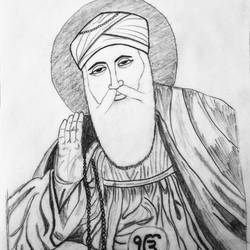 guru nanak devji, 8 x 9 inch, geeta kwatra,drawings,abstract drawings,drawing paper,pencil color,8x9inch,GAL0899120429