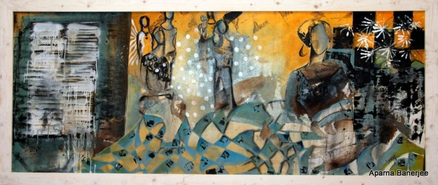 pouring light, 186 x 34 inch, aparna  banerjee,abstract paintings,paintings for living room,canvas,mixed media,186x34inch,GAL07992044