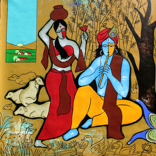 flutist krishna, 35 x 35 inch, chetan katigar,figurative paintings,flower paintings,cityscape paintings,landscape paintings,modern art paintings,multi piece paintings,conceptual paintings,religious paintings,nature paintings,expressionist paintings,impressionist paintings,photorealism,portraiture,radha krishna paintings,contemporary paintings,paintings for living room,paintings for bedroom,paintings for office,paintings for hotel,paintings for kitchen,paintings for hospital,canvas,acrylic color,35x35inch,GAL026620449,love,flute,music,radhakrishna,lordkrishna,lordradhaNature,environment,Beauty,scenery,greenery