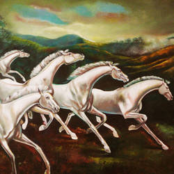an evening, 48 x 36 inch, satyajit chandra chanda,wildlife paintings,paintings for office,animal paintings,horse paintings,canvas,oil paint,48x36inch,GAL07502045