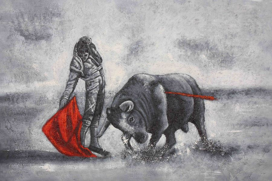 bull with man, 36 x 24 inch, achal  art studio,paintings,figurative paintings,paintings for office,canvas,acrylic color,36x24inch,GAL0991220456