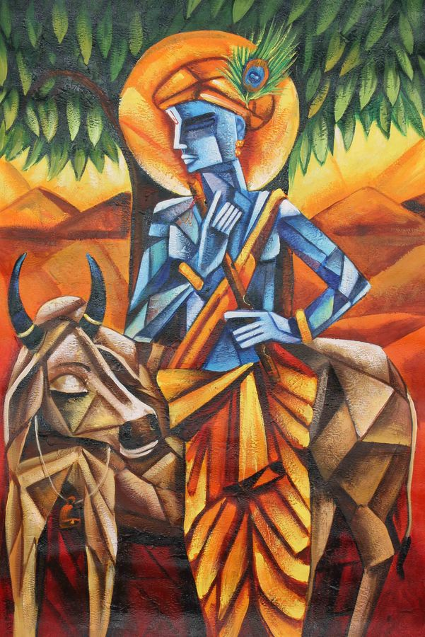 krishna with cow, 24 x 36 inch, achal  art studio,paintings,abstract paintings,figurative paintings,paintings for living room,canvas,acrylic color,24x36inch,GAL0991220457
