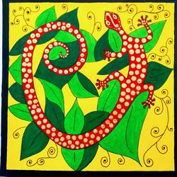 red and golden gecko, 11 x 11 inch, geeta kwatra,paintings,abstract paintings,drawing paper,acrylic color,11x11inch,GAL0899120459