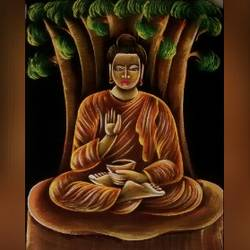 buddha, 14 x 18 inch, varsha kashyap,paintings,buddha paintings,modern art paintings,art deco paintings,paintings for dining room,paintings for living room,paintings for office,paintings for hotel,paintings for school,paintings for dining room,paintings for living room,paintings for office,paintings for hotel,paintings for school,cloth,acrylic color,14x18inch,religious,peace,meditation,meditating,gautam,goutam,buddha,lord,brown,tree,mudra,giving blessing,GAL0846820479