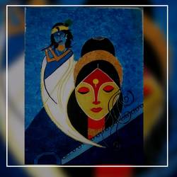krishna meera painting, 13 x 17 inch, varsha kashyap,paintings,modern art paintings,art deco paintings,paintings for dining room,paintings for living room,paintings for school,canvas,acrylic color,13x17inch,GAL0846820485