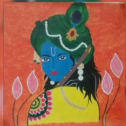 krishna, 16 x 17 inch, varsha kashyap,paintings,modern art paintings,art deco paintings,paintings for living room,paintings for school,canvas,acrylic color,16x17inch,GAL0846820486