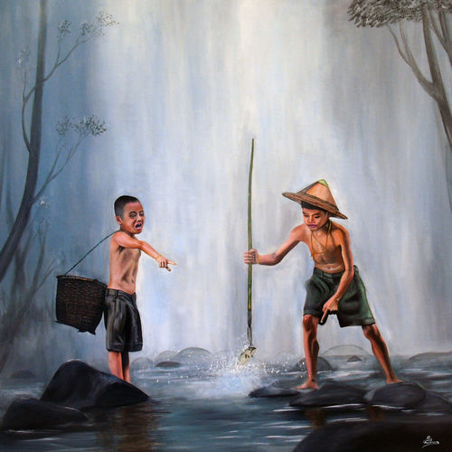 two small assami fishermen, 31 x 31 inch, rijoy  emmanuel,paintings,figurative paintings,landscape paintings,nature paintings,paintings for dining room,paintings for living room,paintings for bedroom,paintings for office,paintings for kids room,paintings for hotel,paintings for school,paintings for hospital,canvas,acrylic color,31x31inch,GAL0643120497Nature,environment,Beauty,scenery,greenery