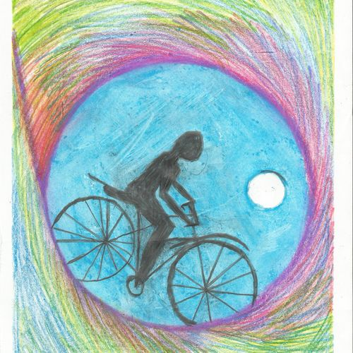 bi-cycling on earth, 8 x 11 inch, prama roy,paintings,conceptual paintings,paintings for living room,paintings for hotel,paintings for living room,paintings for hotel,paper,pastel color,8x11inch,GAL01044020519