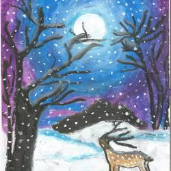 reindeer in a moonlit night, 8 x 11 inch, prama roy,paintings,wildlife paintings,paintings for living room,paintings for bedroom,paper,pastel color,8x11inch,GAL01044020520