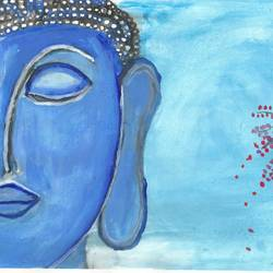 lord budhdha, 8 x 11 inch, prama roy,paintings,buddha paintings,paintings for living room,paintings for hotel,cartridge paper,acrylic color,8x11inch,religious,peace,meditation,meditating,gautam,goutam,buddha,lord,blue,side face,peaceful,GAL01044020522