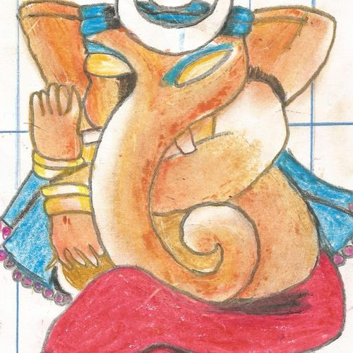 lord ganesha, 8 x 11 inch, prama roy,paintings,religious paintings,paintings for living room,paintings for office,paintings for hospital,paper,pastel color,8x11inch,GAL01044020523