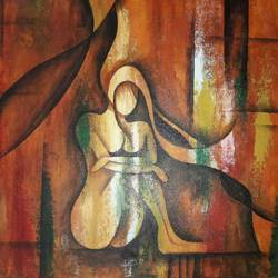 abstract figurative painting, 20 x 16 inch, nidhi  agrawal,paintings,abstract paintings,figurative paintings,modern art paintings,paintings for living room,paintings for office,paintings for bathroom,paintings for hotel,paintings for living room,paintings for office,paintings for bathroom,paintings for hotel,canvas,acrylic color,20x16inch,GAL0932620541