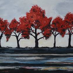 autumn trees, 24 x 18 inch, bharti rajpurohit,paintings,nature paintings,paintings for living room,paintings for hotel,canvas,acrylic color,oil,24x18inch,GAL01048520552Nature,environment,Beauty,scenery,greenery
