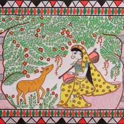 a deer along with radhá in a devotional trance, 17 x 12 inch, jyotsna kumari,paintings,madhubani paintings,radha krishna paintings,religious paintings,paintings for dining room,paintings for living room,paintings for bedroom,paintings for office,paintings for kids room,paintings for hotel,paintings for kitchen,paintings for school,drawing paper,acrylic color,pen color,ball point pen,17x12inch,GAL01046820553,radhakrishna,love,pece,lordkrishna,,lordradha,peace,flute,music,radha,krishna,devotion,couple