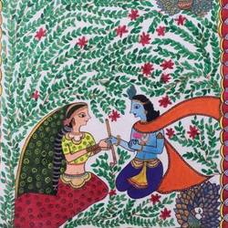 radha and krishna, 12 x 17 inch, jyotsna kumari,paintings,radha krishna paintings,madhubani paintings,religious paintings,paintings for dining room,paintings for living room,paintings for bedroom,paintings for office,paintings for kids room,paintings for hotel,paintings for kitchen,paintings for school,drawing paper,acrylic color,pen color,12x17inch,GAL01046820554,radhakrishna,love,pece,lordkrishna,,lordradha,peace,flute,music,radha,krishna,devotion,couple