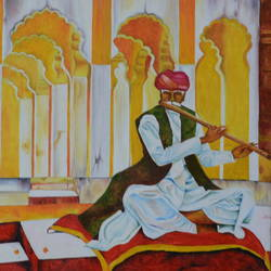 jodhpur fort music, 24 x 18 inch, bharti rajpurohit,folk art paintings,paintings for dining room,paintings for living room,paintings for bedroom,paintings for dining room,paintings for living room,paintings for bedroom,canvas,oil,24x18inch,GAL01048520560