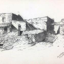 ruins of old palace, 12 x 16 inch, sujata pan,paintings,illustration paintings,paintings for living room,handmade paper,pencil color,12x16inch,GAL01009520567