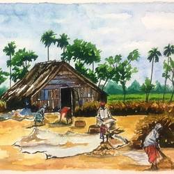 harvest in village, 12 x 16 inch, sujata pan,paintings,conceptual paintings,expressionist paintings,paintings for bedroom,paintings for bedroom,handmade paper,watercolor,12x16inch,GAL01009520568