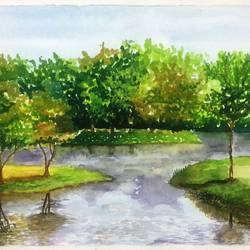lake with green, 12 x 16 inch, sujata pan,paintings,landscape paintings,paintings for office,handmade paper,watercolor,12x16inch,GAL01009520569