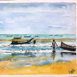 sea with boats, 12 x 16 inch, sujata pan,paintings,landscape paintings,abstract expressionist paintings,paintings for living room,handmade paper,watercolor,12x16inch,GAL01009520570
