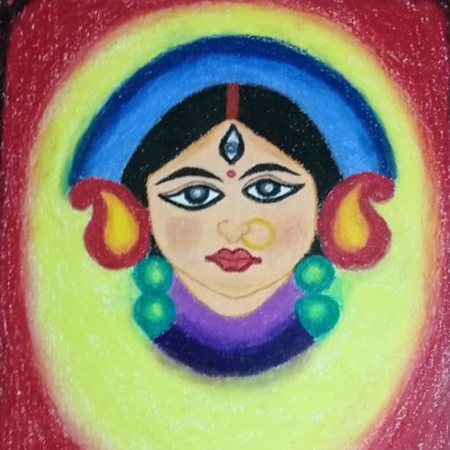 goddess durga, 16 x 20 inch, vaishnavi soni,abstract drawings,art deco drawings,folk drawings,illustration drawings,paintings for dining room,paintings for living room,paintings for bedroom,paintings for office,paintings for hotel,paintings for school,canvas,pastel color,16x20inch,GAL01049020573