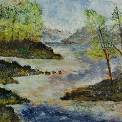 the river, 16 x 12 inch, sohini nandi,paintings,landscape paintings,impressionist paintings,paintings for dining room,paintings for living room,paintings for hotel,canvas,acrylic color,16x12inch,GAL01050720576