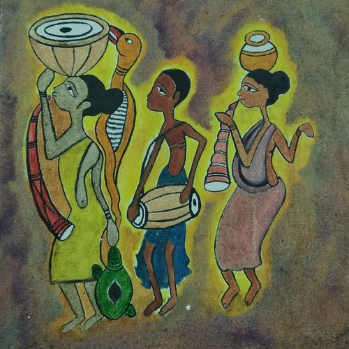 the dancing tribal, 12 x 14 inch, sohini nandi,paintings,modern art paintings,paintings for dining room,paintings for living room,paintings for bedroom,paintings for office,paintings for kids room,paintings for hotel,paintings for hospital,folk art paintings,canvas,acrylic color,oil,12x14inch,GAL01050720579