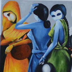 tribal ladies, 20 x 16 inch, bharti rajpurohit,paintings,abstract paintings,paintings for dining room,paintings for living room,paintings for bedroom,paintings for bathroom,paintings for kids room,paintings for hotel,canvas,oil,20x16inch,GAL01048520583