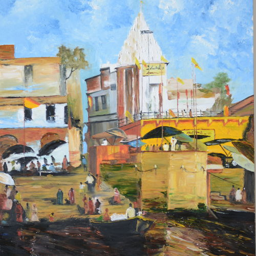 banaras ghaat, 20 x 30 inch, bharti rajpurohit,paintings,landscape paintings,paintings for dining room,paintings for living room,paintings for bedroom,paintings for office,paintings for bathroom,paintings for kids room,paintings for hotel,paintings for kitchen,paintings for school,paintings for hospital,canvas,oil,20x30inch,GAL01048520584