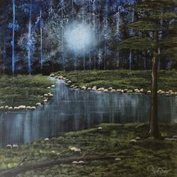 beautiful water night view , 18 x 18 inch, anamika bhong,paintings,nature paintings,canvas board,acrylic color,18x18inch,GAL01052720592Nature,environment,Beauty,scenery,greenery