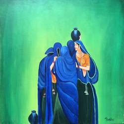 ladies , 18 x 18 inch, anamika bhong,mother teresa paintings,canvas board,acrylic color,18x18inch,GAL01052720602