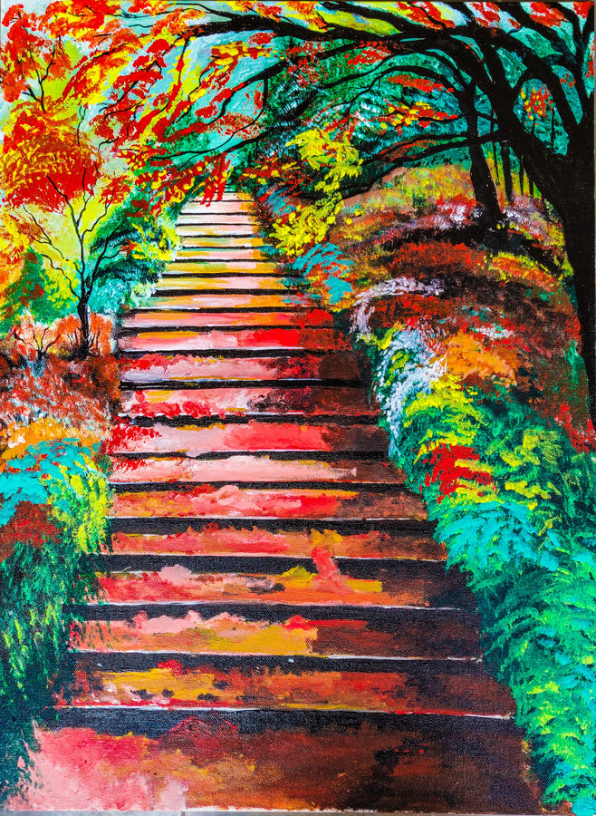 the staircase, 18 x 24 inch, rajni  a,paintings,abstract paintings,landscape paintings,conceptual paintings,abstract expressionist paintings,expressionist paintings,paintings for living room,paintings for bedroom,paintings for kids room,paintings for hotel,canvas,acrylic color,18x24inch,GAL084020616