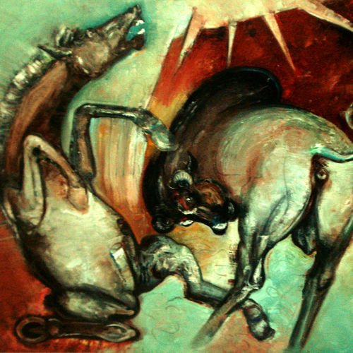 enjoy-4, 60 x 48 inch, satyajit chandra chanda,wildlife paintings,paintings for office,animal paintings,canvas,oil,60x48inch,GAL07502062