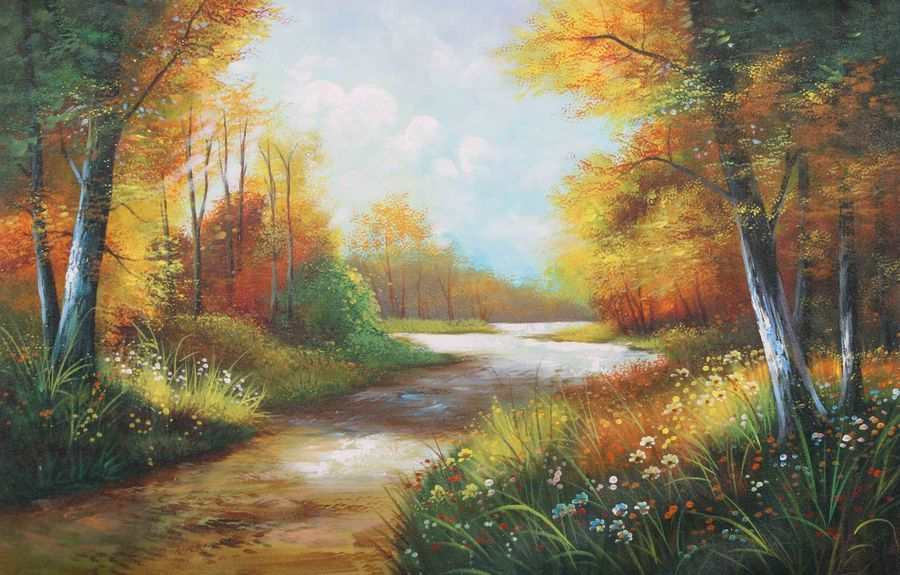 natures love 1, 36 x 24 inch, achal  art studio,paintings,landscape paintings,paintings for living room,canvas,acrylic color,36x24inch,GAL0991220621