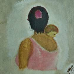 the mother with her child, 12 x 14 inch, sohini nandi,paintings,love paintings,paintings for bedroom,paintings for kids room,paintings for hotel,paintings for school,canvas,oil,12x14inch,GAL01050720628