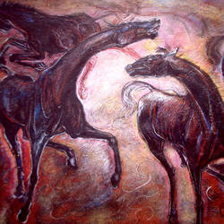 two horses-3, 30 x 20 inch, satyajit chandra chanda,wildlife paintings,paintings for office,animal paintings,horse paintings,paper,mixed media,30x20inch,GAL07502063