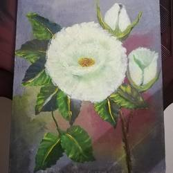 white rose, 12 x 16 inch, kanchana swapna korati,flower paintings,canvas,oil,12x16inch,GAL0817620638