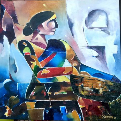labor women, 30 x 36 inch, d.s. chougale,paintings,figurative paintings,paintings for dining room,paintings for living room,paintings for office,paintings for hotel,canvas,oil,30x36inch,GAL032020644