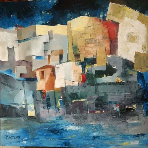 abstract landscape, 24 x 30 inch, d.s. chougale,paintings,abstract paintings,paintings for dining room,paintings for living room,paintings for office,paintings for hotel,paintings for school,paintings for hospital,canvas,oil,24x30inch,GAL032020645