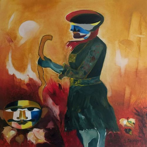 priest of deity, 30 x 36 inch, d.s. chougale,paintings,figurative paintings,folk art paintings,paintings for dining room,paintings for living room,paintings for office,paintings for hotel,paintings for school,paintings for hospital,paintings for dining room,paintings for living room,paintings for office,paintings for hotel,paintings for school,paintings for hospital,canvas,oil,30x36inch,GAL032020646