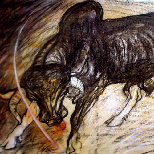 bull, 30 x 20 inch, satyajit chandra chanda,wildlife paintings,paintings for office,animal paintings,paper,mixed media,30x20inch,GAL07502065